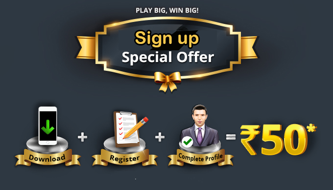 Rummy sign up special offer Rs.50
