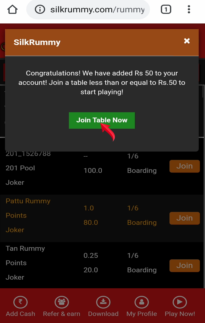 After verification join rummy table now