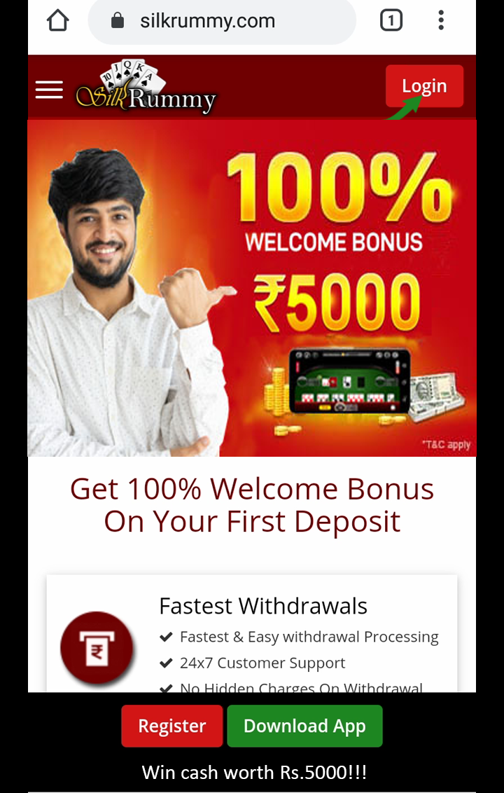 Rummy welcome bonus upto Rs.5000